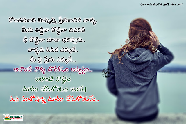 telugu quotes on relationship, don't loose a better person in your life quotes in telugu