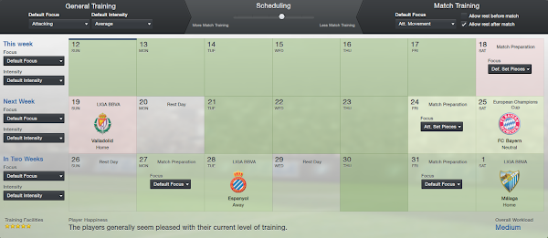 Barcelona Tiki-taka Training scheduling