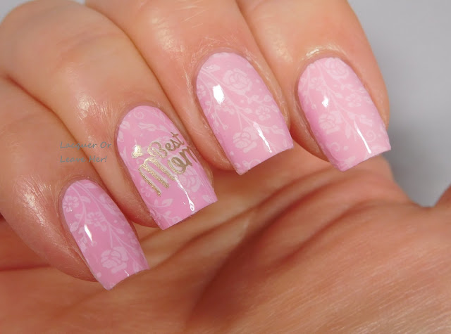 UberChic Beauty Mother's Day mini over Zoya Jordan, stamped with Messy Mansion polishes