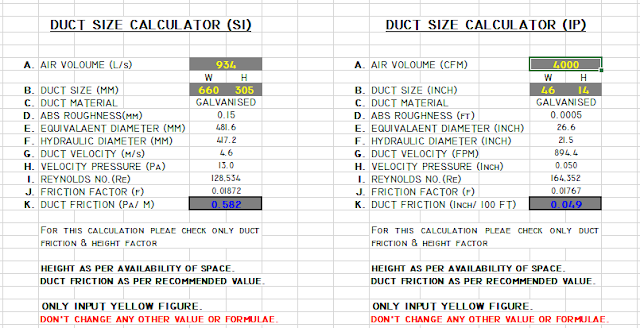 HVAC Duct Size Calculator Excel - Free Ductulator