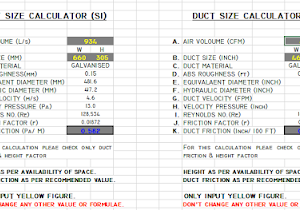 Mep work hvac duct size calculator excel free ductulator greentooth Image collections