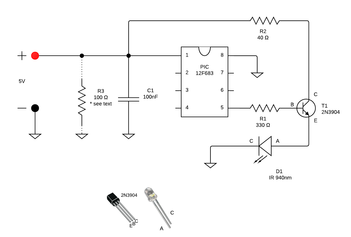 Nothing critical here. Mount the C1 as near as possible to the PIC pins 1  and 8 (Decoupling capacitor). The input voltage can be between 3-5,5V.