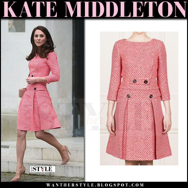 Kate Middleton in red plaid dress eponine what she wore march 2017