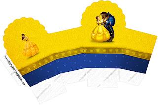 Caja para cupcakes, chocolates o golosinas de Fiesta de La Bella y la Bestia.