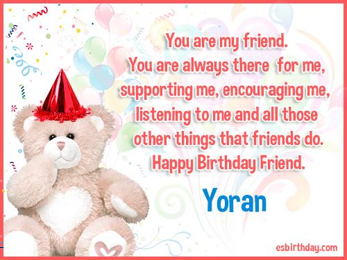 Yoran Happy birthday friends always