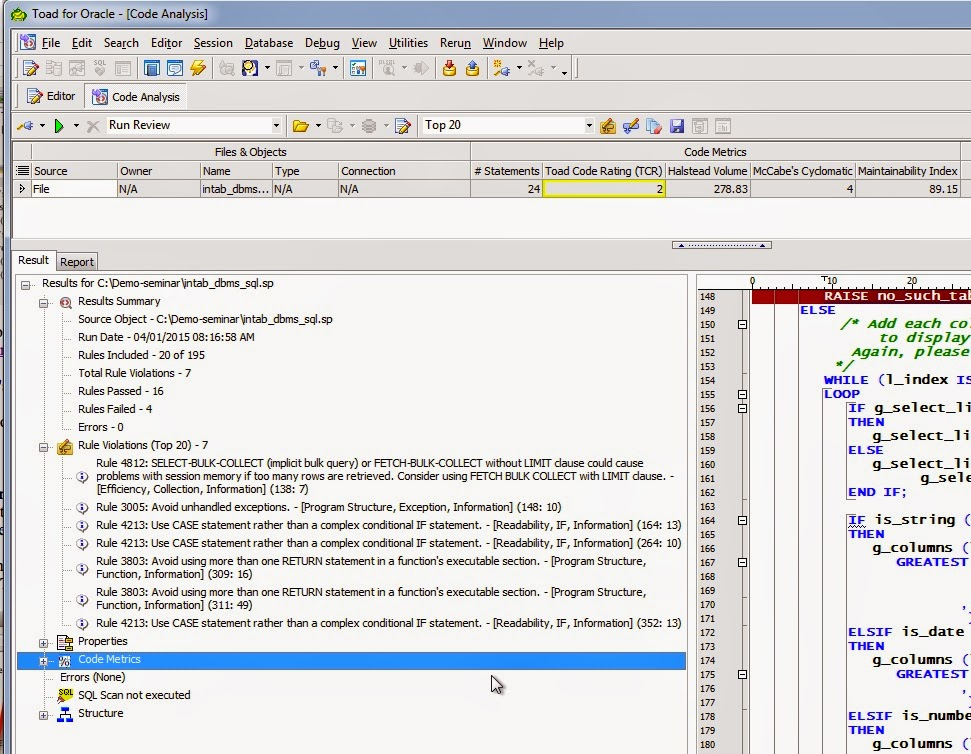 Lint Checkers for PL/SQL