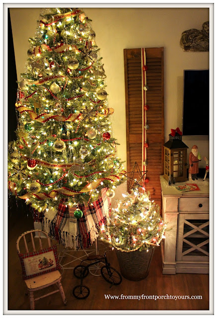 Vintage Inspired Farmhouse Christmas Tree-Laundry Cart-Tree Stand-Olive Bucket- From My Front Porch To Yours