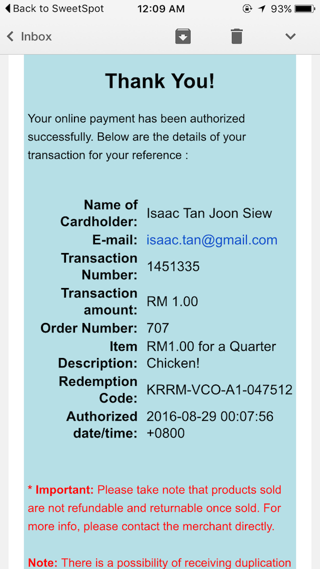 Completed! Now I can redeem my Kenny Rogers Roasters Quarter Chicken at the nearest outlet.