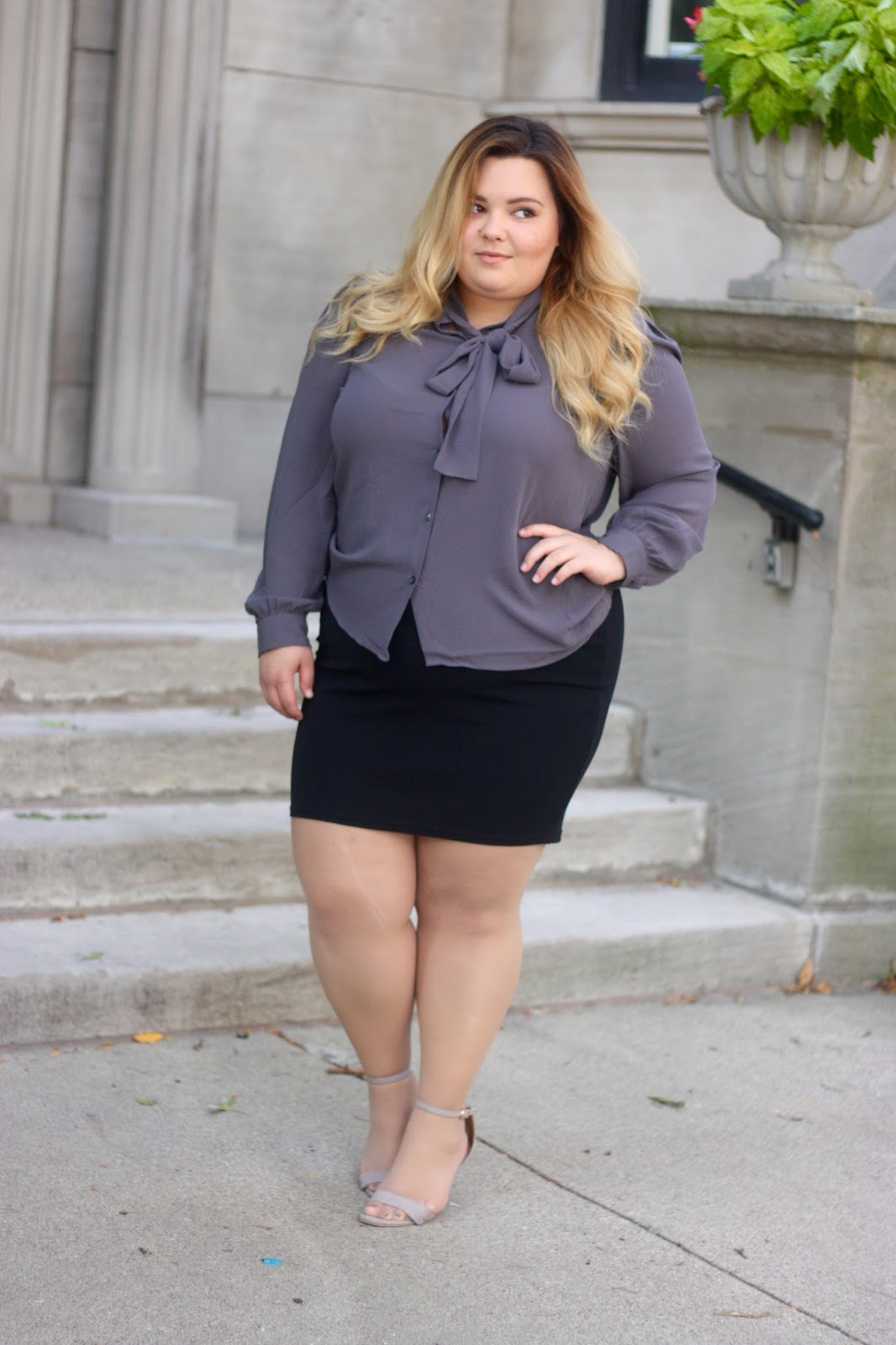 natalieinthecity.com, bow tie blouse, plus size fashion, plus size blogger, fashion blogger style, natalie craig, natalie in the city, chicago, midwest blogger, chicago blogger, plus size office attire
