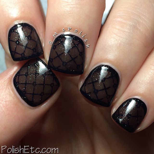 Ellagee - Brunch with Unicorns - McPolish - black fishnet stamping