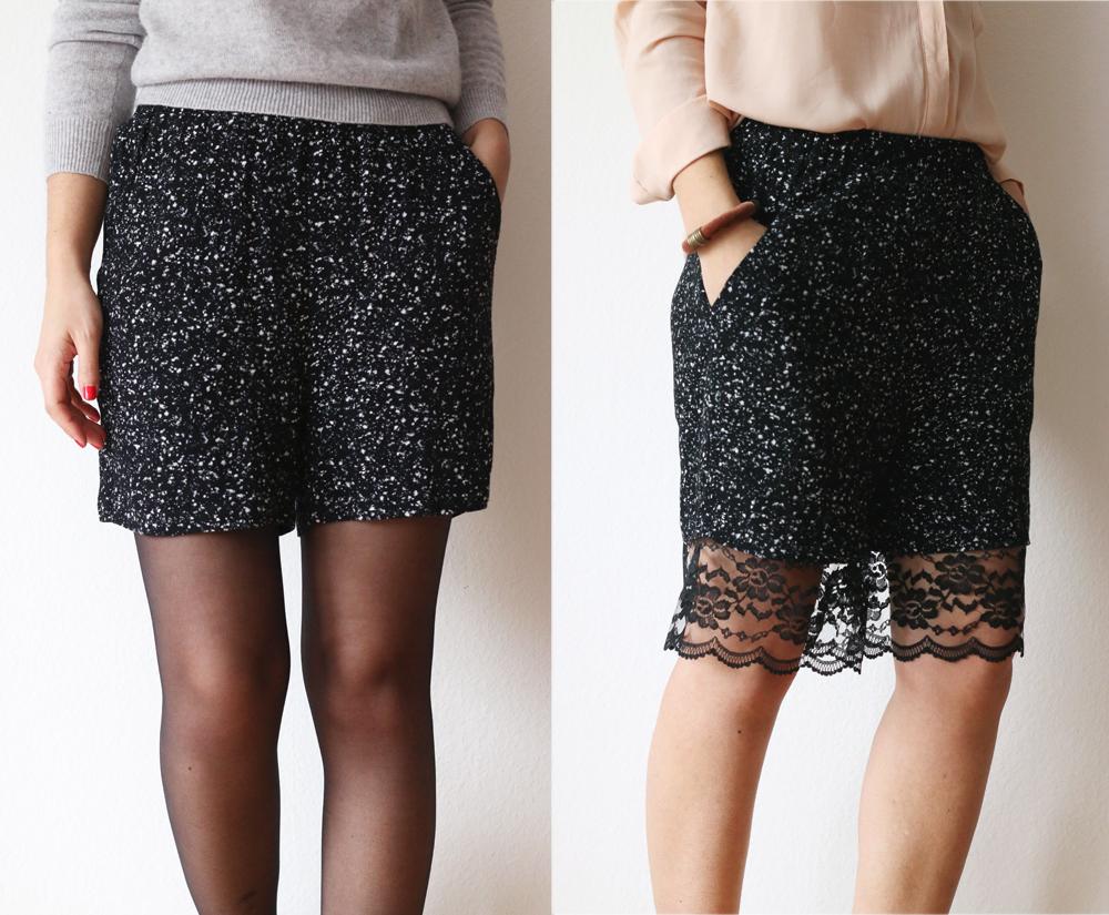 Pantalones cortos efecto optico falda con encaje