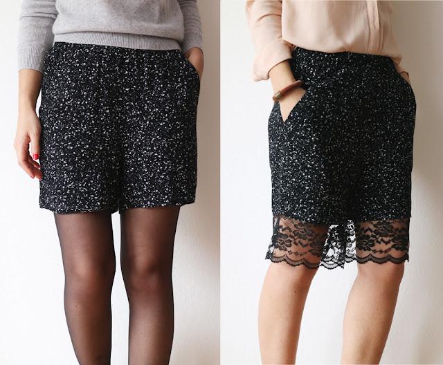 short, pantalones, encaje, transformación, refashion, bricomoda, costura