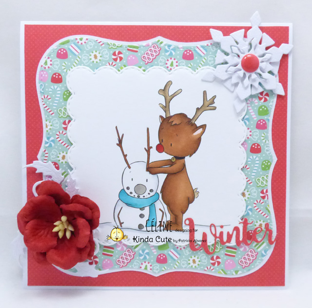winter card with snowman and reindeer digital stamp