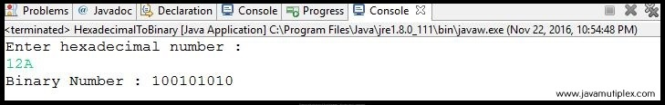 Output of Java program that converts hexadecimal number to binary number.