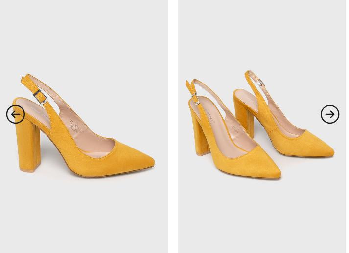 Answear - Pantofi dama cu toc gros din piele intoarsa galbeni