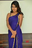 Actress Priya in Blue Saree and Sleevelss Choli at Javed Habib Salon launch ~  Exclusive Galleries 036.jpg