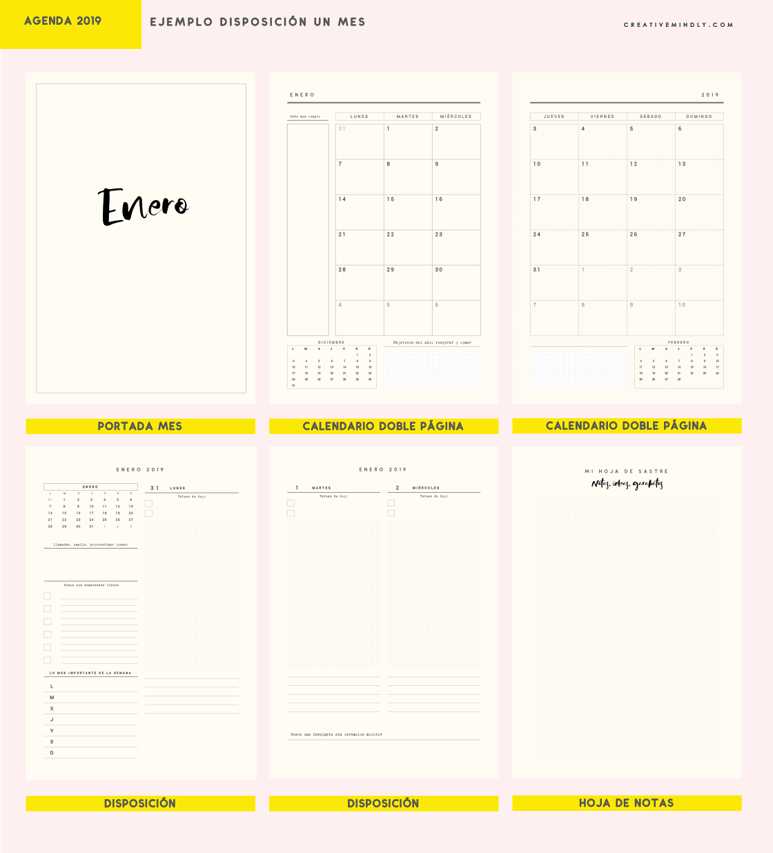 agenda 2019 bonita imprimible barata