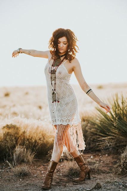 brunette model hippie girl