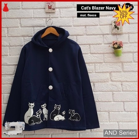 AND283 Blazer Wanita Cats Blazer Biru Navy BMGShop