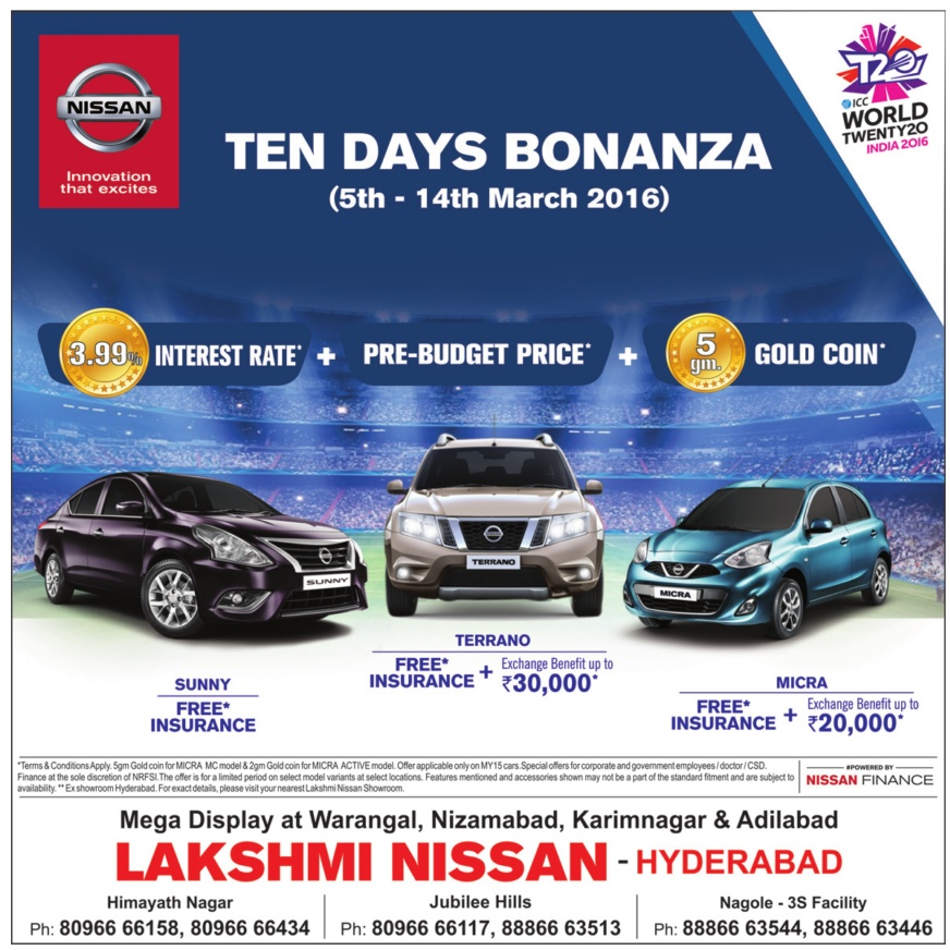 Nissan - 10 days Bonanza (5th -14th March 2016) | Discount offer on Nissan