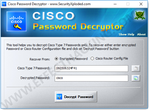 Cisco Password Decryptor Screenshot 2