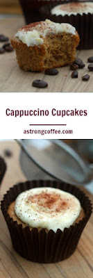 Cappuccino cupcakes. This coffee cupcake is perfect for a coffee lover. Topped with cream cheese frosting and chocolate