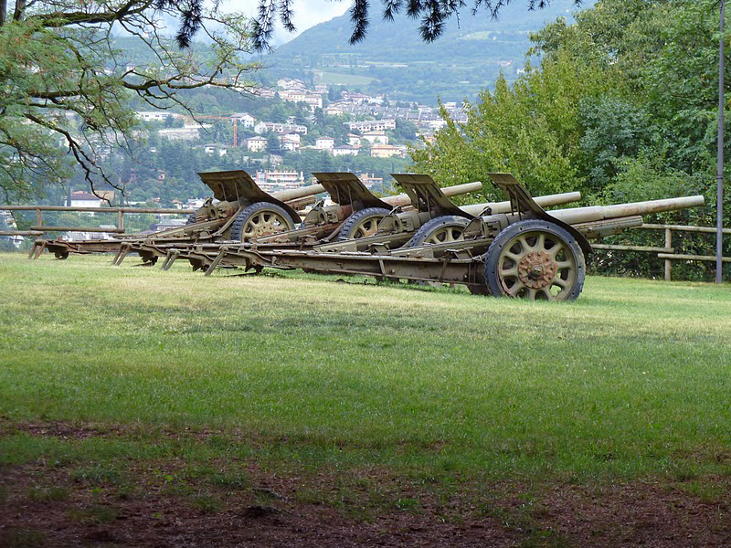 Artillery battery of the 105 mm Schneider guns - Trento, Italy