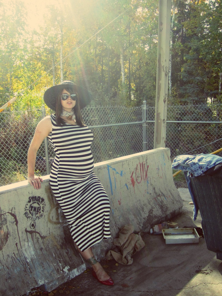 Red Point Flats; Black and white striped maxi 'Beyonce' dress; Black straw derby hat with grossgrain ribbon; Aviators