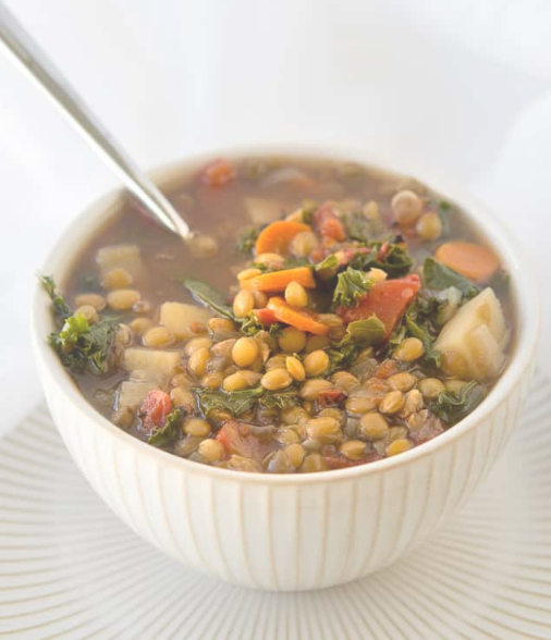 CROCK POT VEGETABLE LENTIL SOUP #vegetables #soup