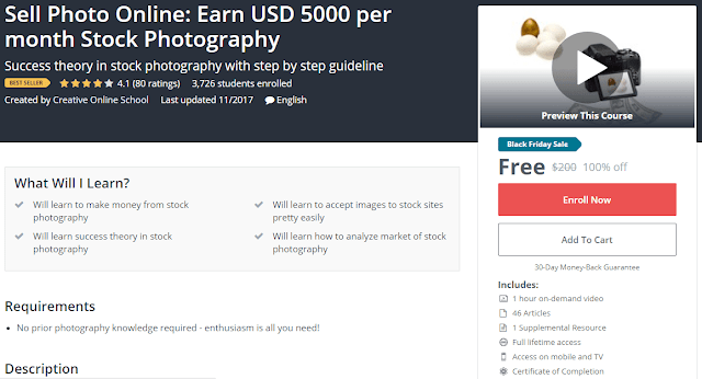 [BESTSELLING][100% Off] Sell Photo Online: Earn USD 5000 per month Stock Photography| Worth 200$