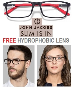 John Jacob Ultra Slim Eyeglasses Frames with FREE Hydrophobic (Water Repellent) Antiglare Lenses (1 Yr Warranty) for Rs.2995 Only @ Lenskart
