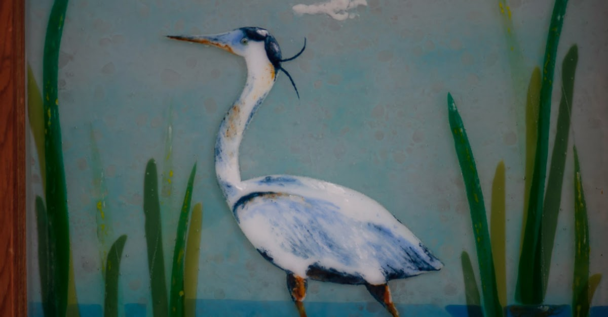 Fused Glass Great Blue Heron Egret Marsh Antique Stained Window Tidal Swamp