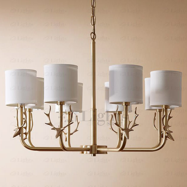 Good Quality Vintage Brass Chandelier 8-Light Antler Shaped