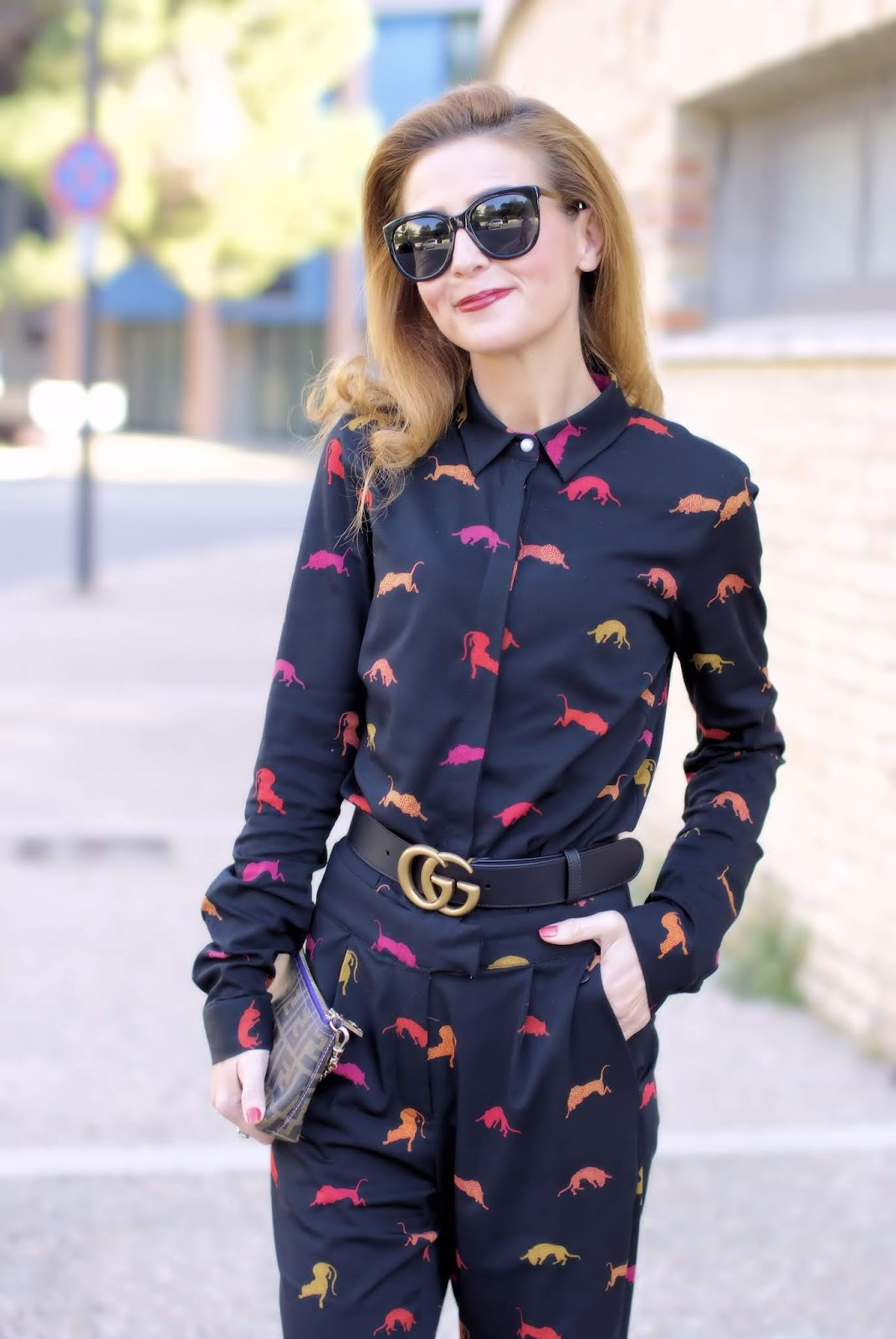 How to wear a day to night jumpsuit: Gucci belt on Fashion and Cookies fashion blog, fashion blogger style