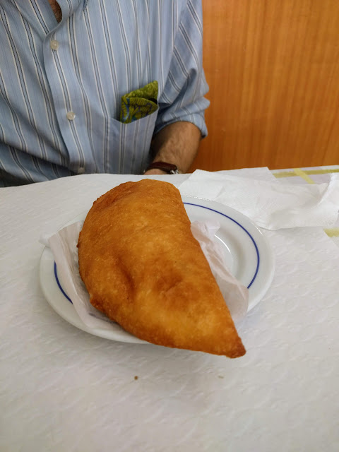 ham and cheese empanada served in Funchal, Madeira