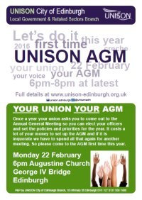 Come to the UNISON AGM on 22 Feb