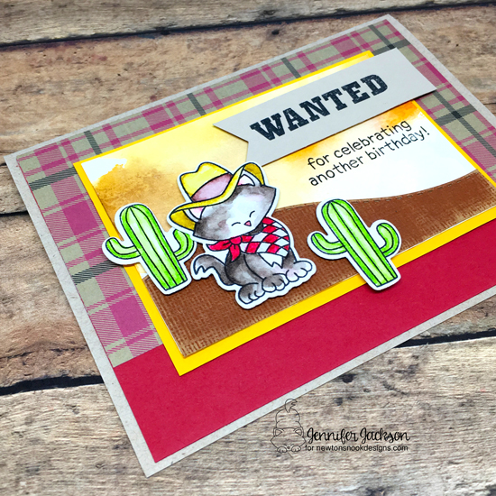 WANTED! Birthday Card by Jennifer Jackson | Newton Rides West Stamp Set by Newton's Nook Designs #newtonsnook #handmade