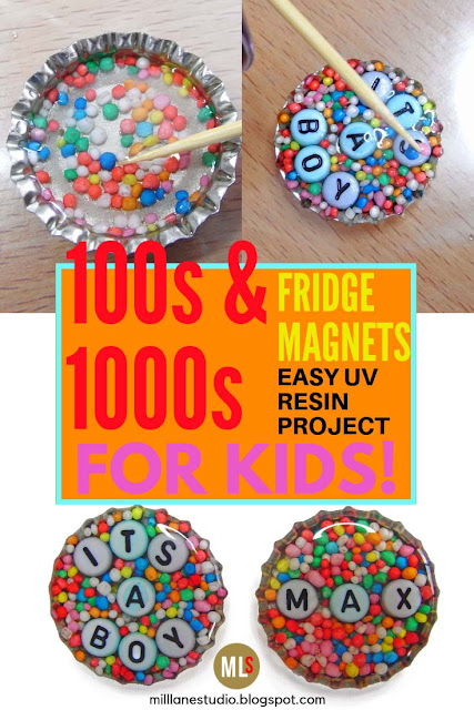 100s and 1000s UV resin fridge magnets project sheet