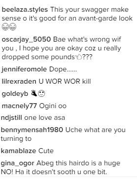 Again, fans show displeasure over Uche Ogbodo's new look