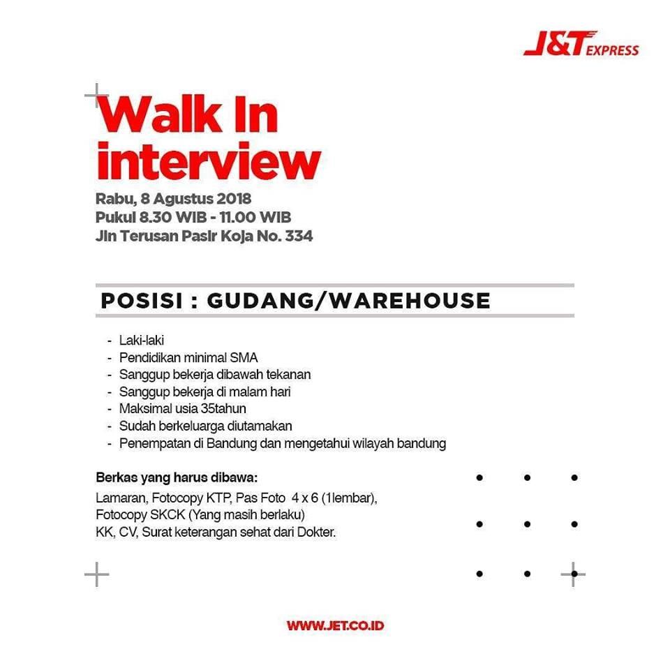 Walk In Interview J T Express Lowongan Kerja Terbaru Indonesia 2021