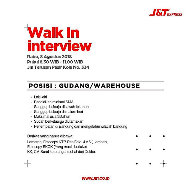 Walk In Interview J&T Express