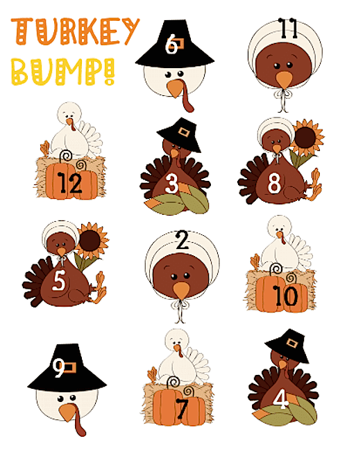 Lots of Thanksgiving Ideas for the primary classroom (K to 2). Roll a Feather math game, Patterned Turkey art, Turkey Bump, Thankful Turkey booklets and MORE! All but one is FREE. #thanksgiving #gradeonederful #firstgrade #turkeygames