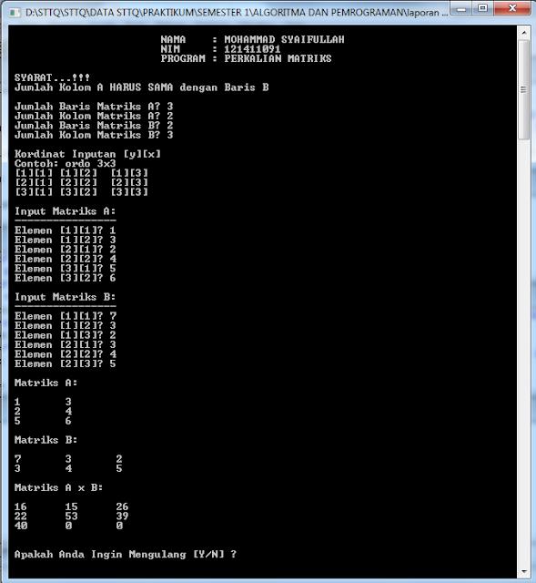 Program Menghitung Perkalian Matriks C++