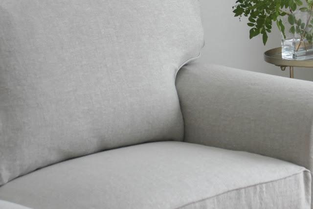 Belgian Linen Bemz cover for Ikea Ektorp sofa at fixer upper for Hello Lovely Studio