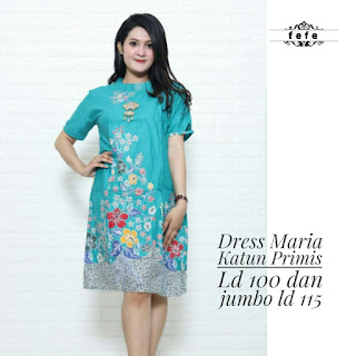 BAJU BATIK WANITA MODEL DRESS BAHAN KATUN PRIMIS JUMBO TERBARU DRESS MARIA