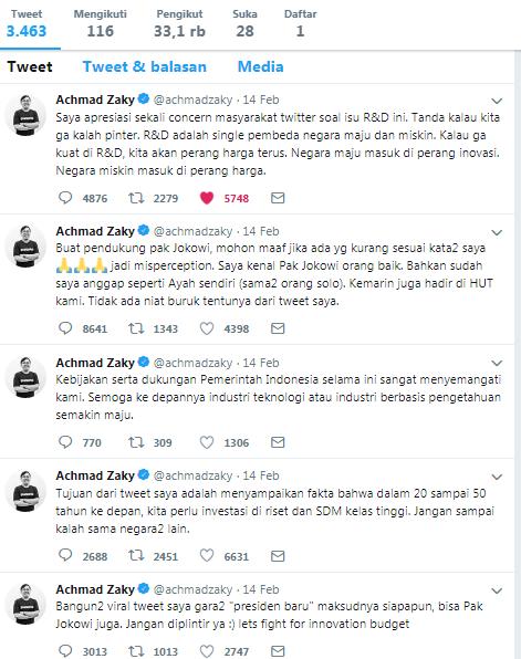 dianggap lupa bapak, Achmad Zaky CEO Bukalapak minta maaf