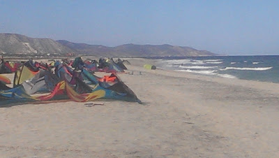 Kites lined up on the beach in Los Barriles waiting for more wind.