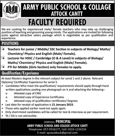 Jobs Vacancies In Army Public School And College Attock Cantt 20 January 2019