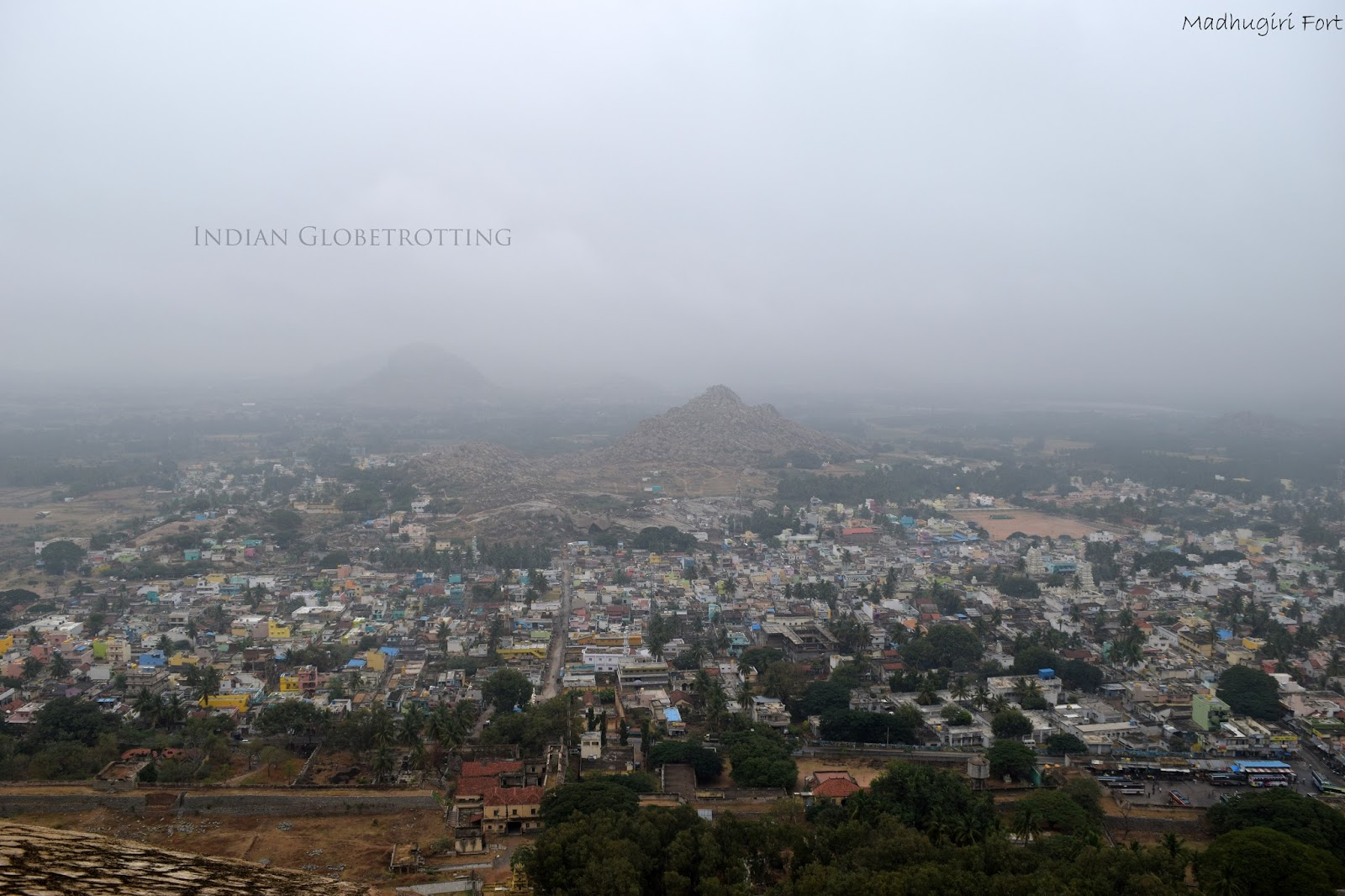Madhugiri town view during the initial part of the trek