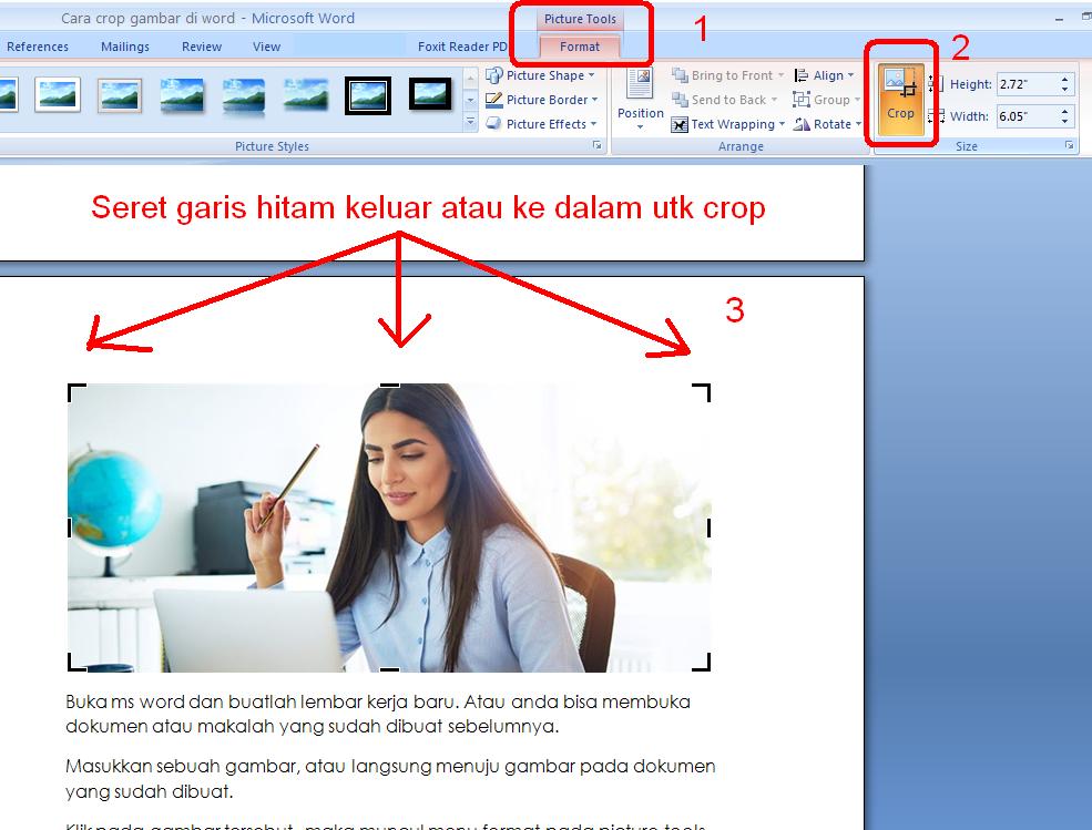 Dokumen tidaklah selalu berisi tulisan berupa huruf dan angka saja Cara Crop Gambar di Ms Word Berbentuk Cantik
